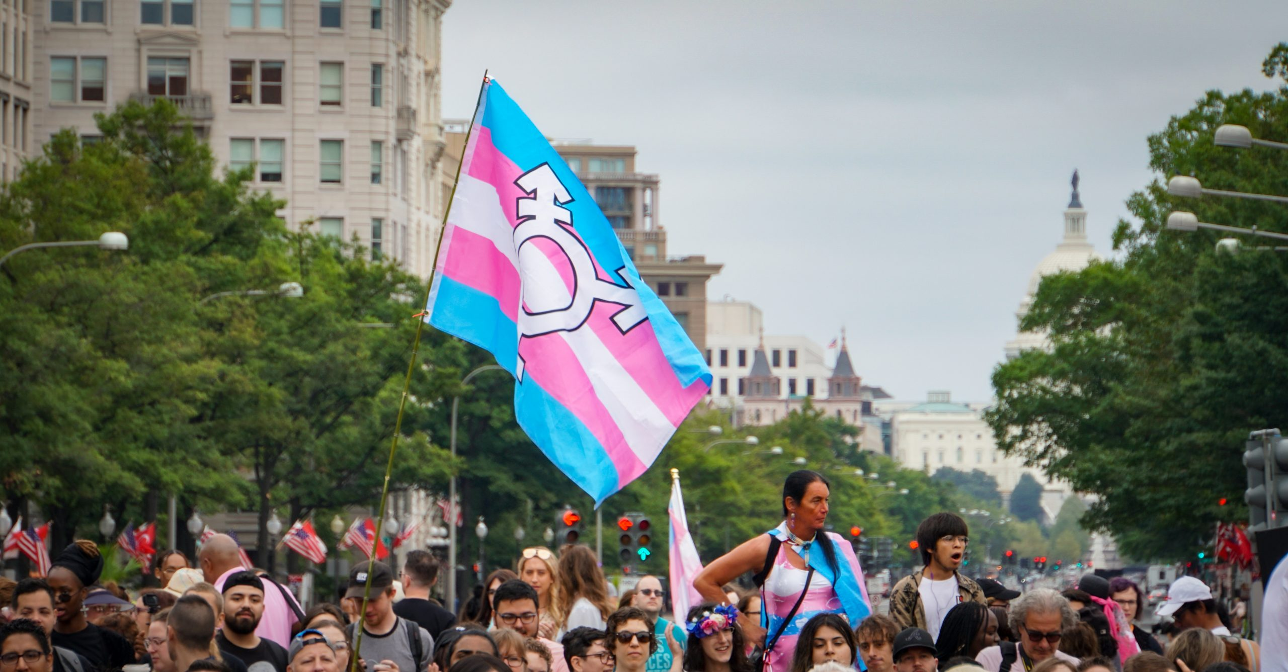 Protest with transgender flag; California travel ban