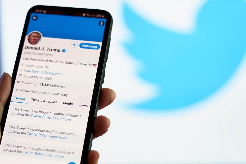 Trump Twitter ban; banned social media