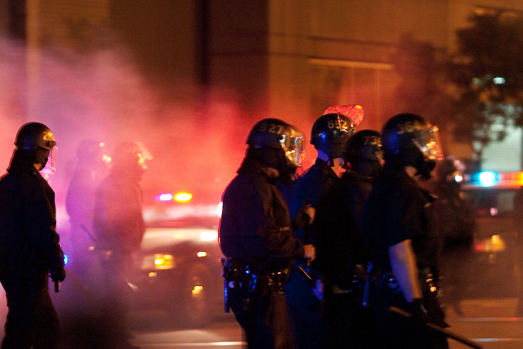 Police during riot; North Carolina anti-rioting bill